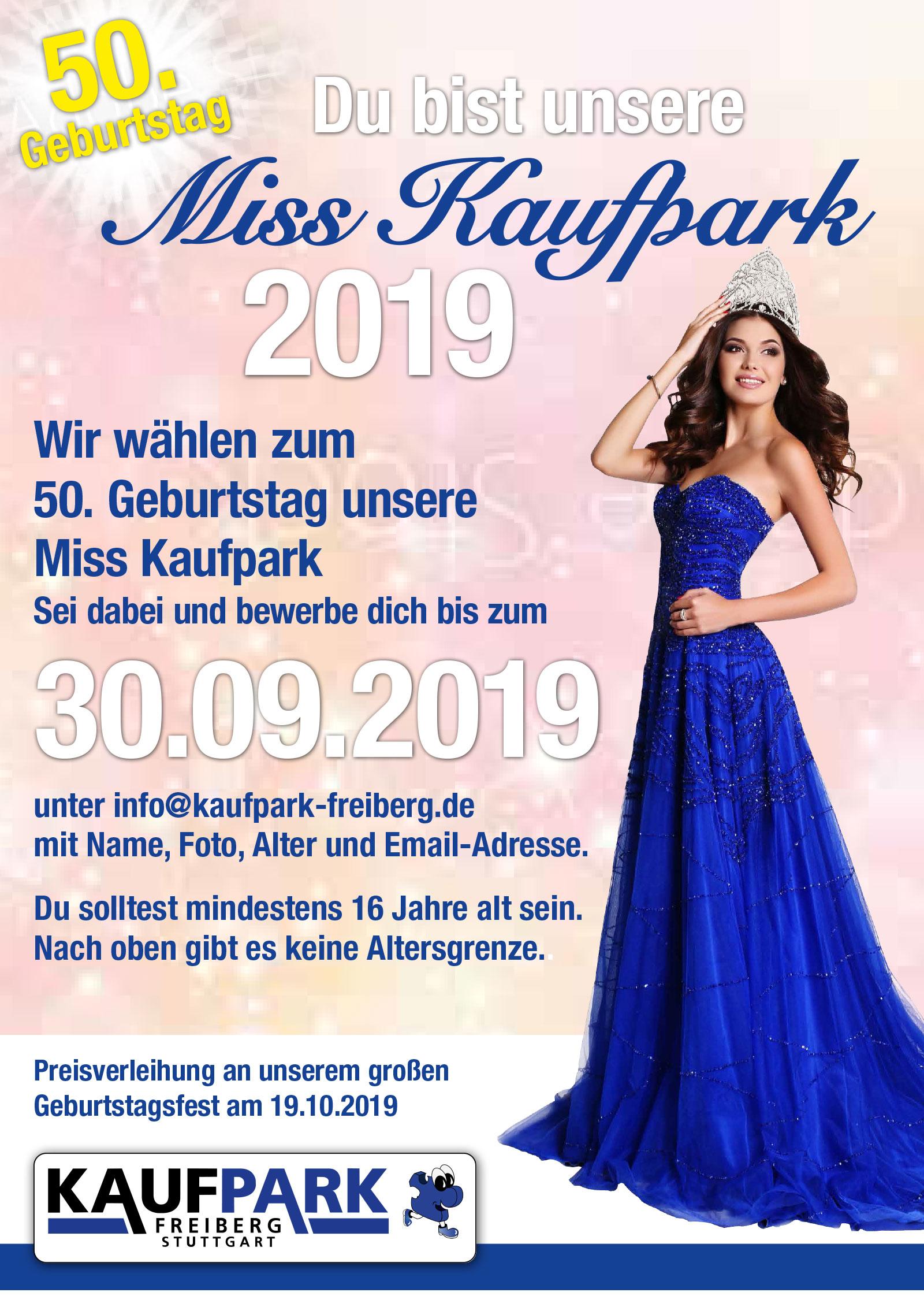 Plakat 1 für Misswahl und 50-Jahre Jubiläum Kaufpark Freiberg
